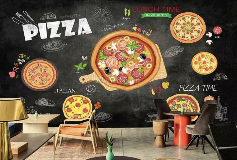 Black pizza wallpapers for kitchen and room